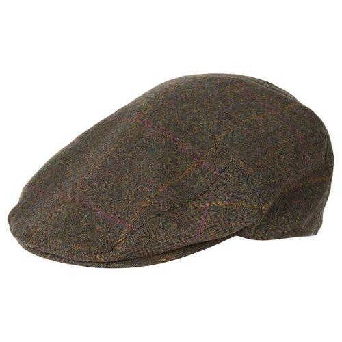 Wool Crieff Flat Cap (Olive/Purple/Yellow)