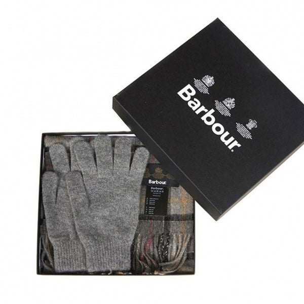 Barbour Lambswool Grey tartan Giftset