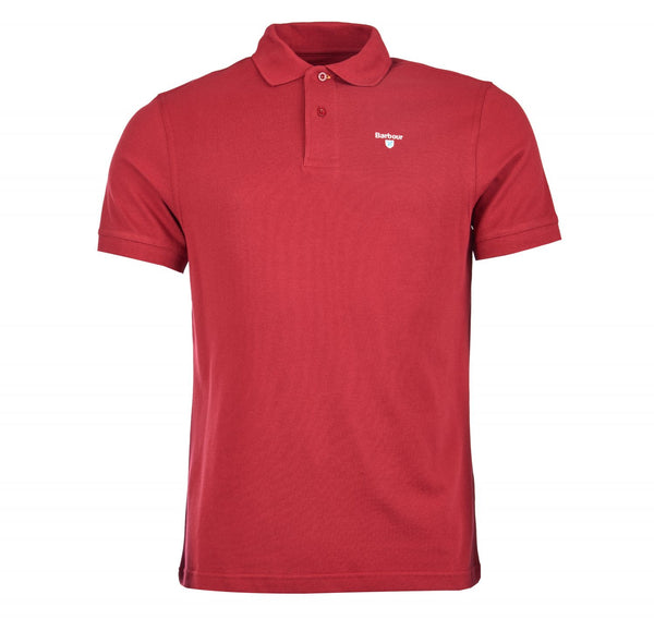 barbour mens t-shirt polo red