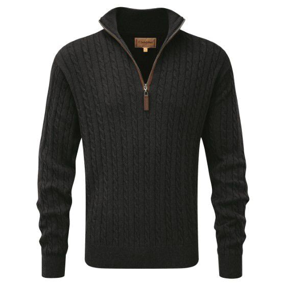Cotton Cashmere Cable 1/4 Zip Jumper (Charcoal)