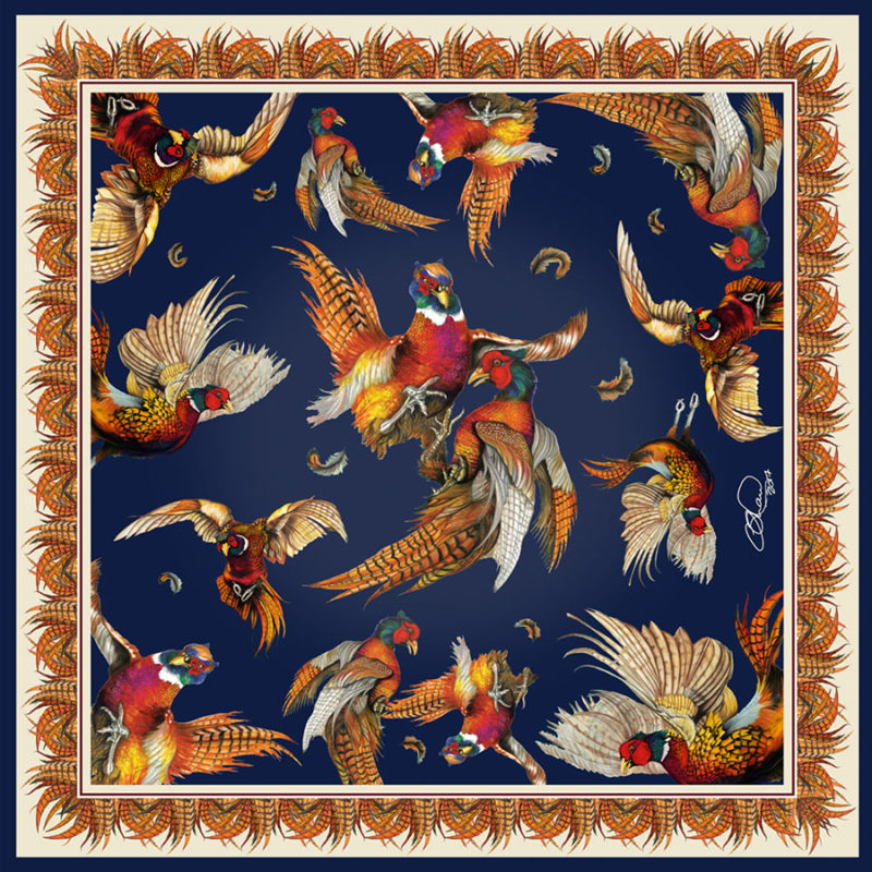 Large Square Silk Scarf 'Turf War' (Navy)