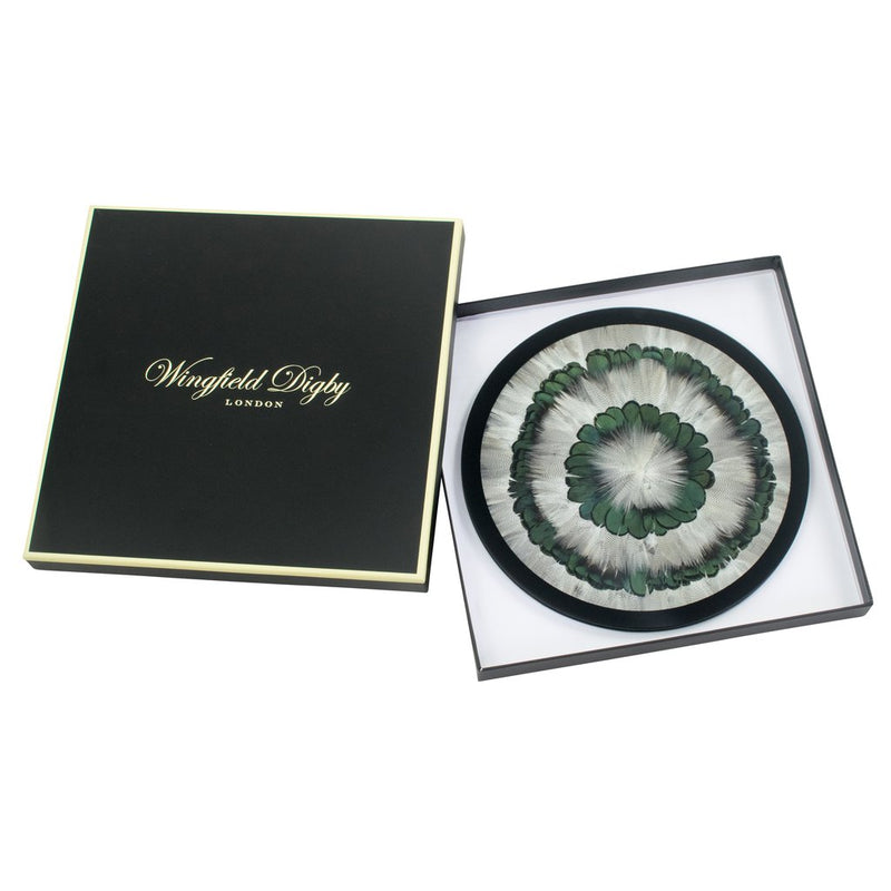 2 x Duck & Green Pheasant Feather & Glass Placemats