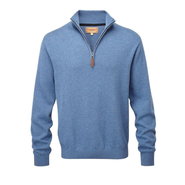 Cotton Cashmere 1/4 Zip Jumper (Denim)