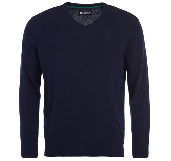 barbour mens lambswool v neck jumper navy