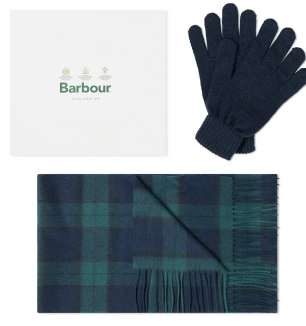 Black Watch Tartan Scarf/ Navy Glove Box Giftset