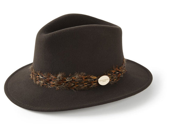 Suffolk Fedora Pheasant Feather Wrap (Gamebird Brown)