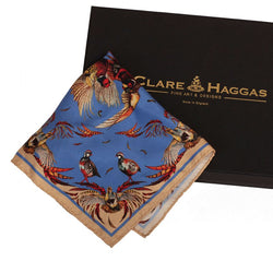 'High Flyer' Pheasant Pocket Square (Blue)