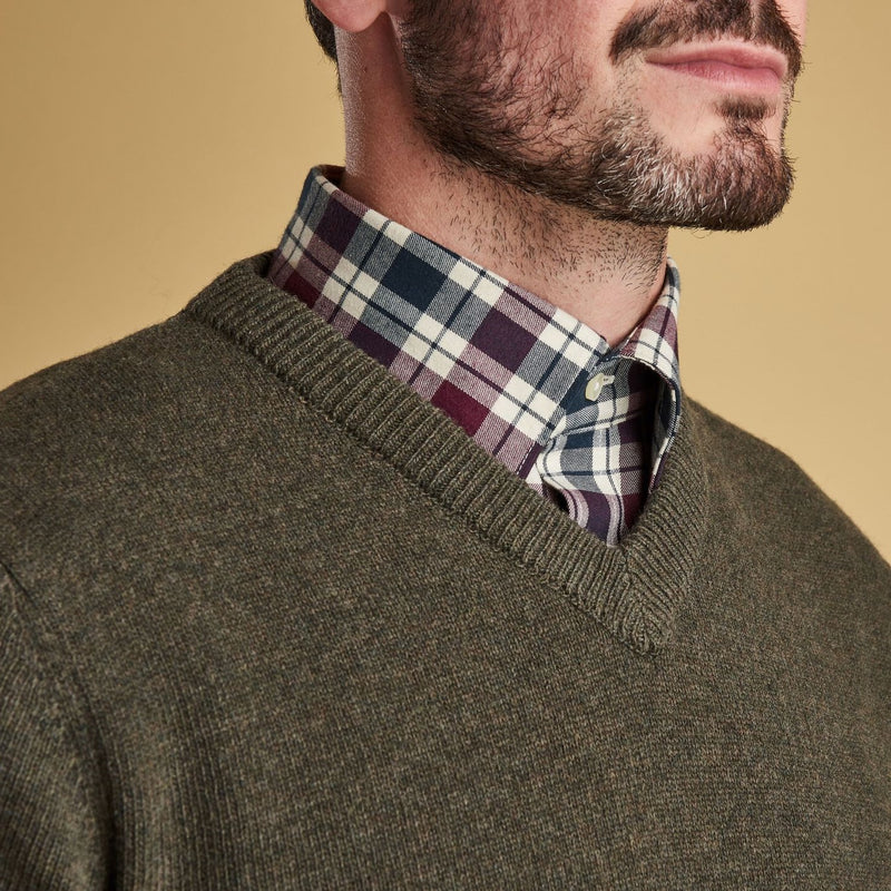 barbour lambswool v neck jumper mens countryside