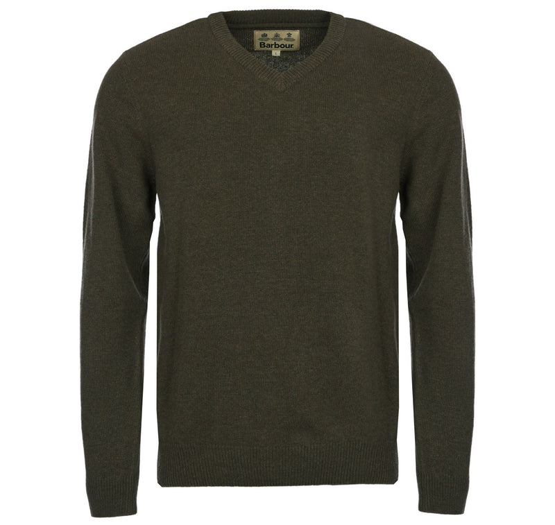 barbour lambswool v neck jumper mens