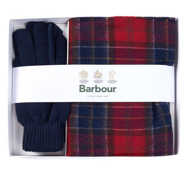Red Tartan Scarf/ Navy Glove Box Giftset