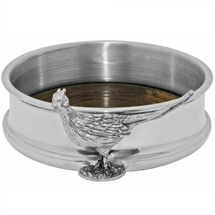 Pheasant Pewter Bottle Coaster