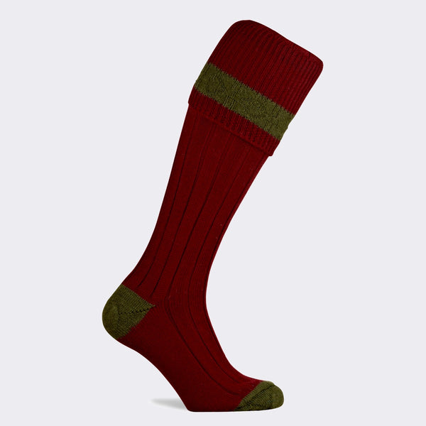 Byron Shooting Sock (Burgundy/Olive)