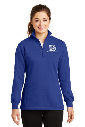 Ladies 1/4 zip Sweatshirt mascot embroidered logo