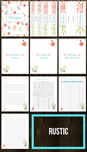 Printable Recipe Binder (3 Different Designs Included)