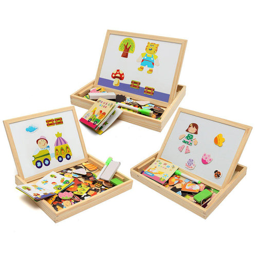 WOODEN DRAWING BOARD WITH MAGNETIC PUZZLES-Fox Cools