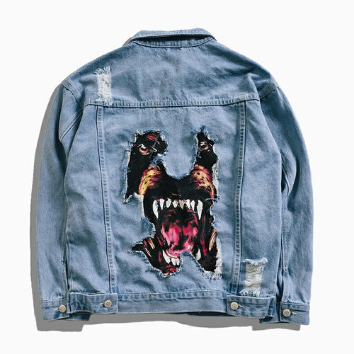 Dog Printed Mens Oversized Denim Jacket-Fox Cools