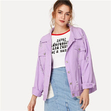 Load image into Gallery viewer, 2018 Ripped Drop Shoulder Ladies Denim Jacket-Fox Cools