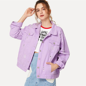 2018 Ripped Drop Shoulder Ladies Denim Jacket-Fox Cools