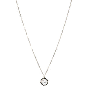 Jet & Crystal Cushion Pendant / Palladium