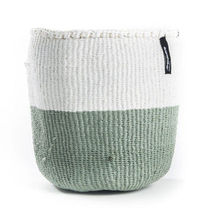 White & Light Green Mifuko Basket - Large