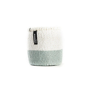 White & Light Green Mifuko Basket - XSmall