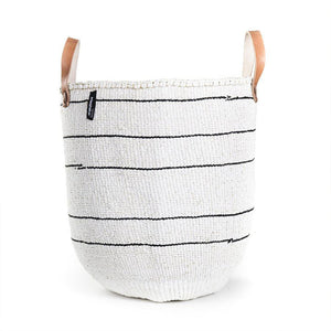 White 5 Stripe Mifuko Tote Bag - Large