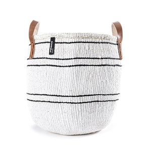 White 5 Stripe Mifuko Tote Bag - Medium