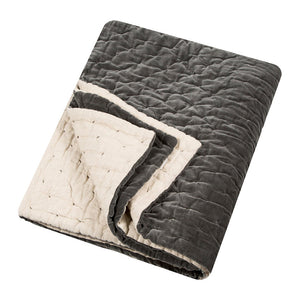 Velvet Throw - Slate / Natural Linen