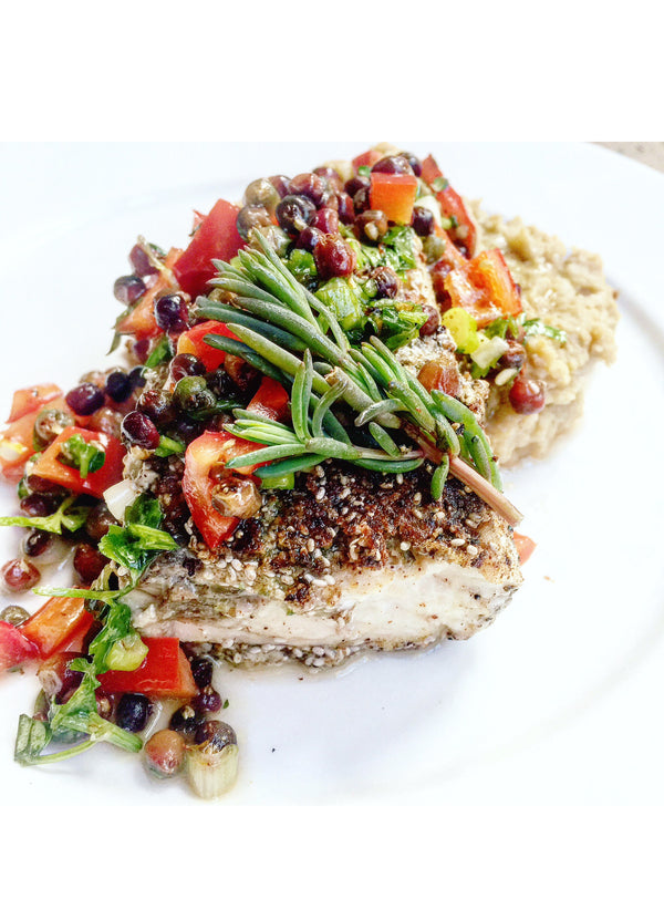 Chia crusted Barramundi with chickpea mash and muntrie salsa