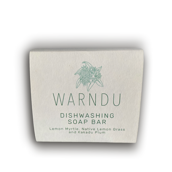 Warndu Australian Native, Warndu Lemon Myrtle, Native Lemongrass & Kakadu Plum Dishwashing Soap Bar.