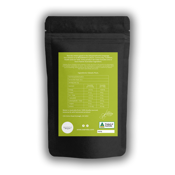 Warndu Australian Native, Kakadu Plum (Gabiny) ~ Premium 100% Freeze dried powder (no seed). 50g.