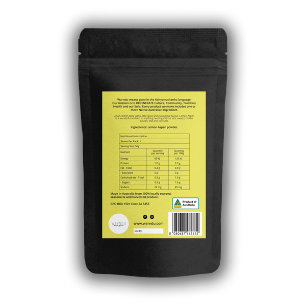 Warndu Australian Native, Lemon Aspen ~ Freeze dried powder. 50g.