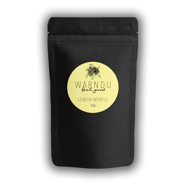 Warndu Australian Native, Lemon Myrtle ~ Whole leaf, dried and ground. 50g.