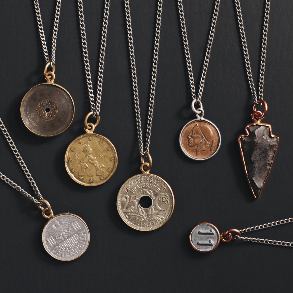 New Men's Jewelry Releases: Vintage coin necklaces for men.