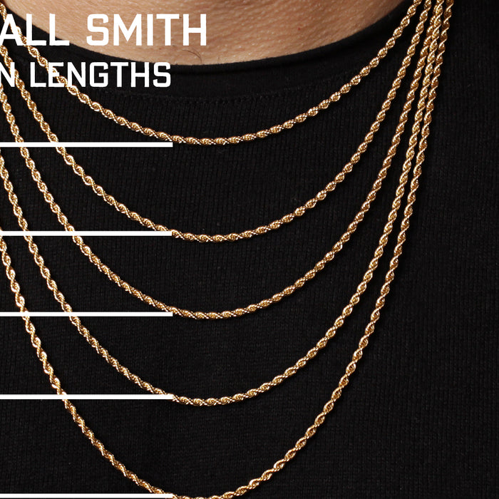 Rope Chain Necklaces Length Chart