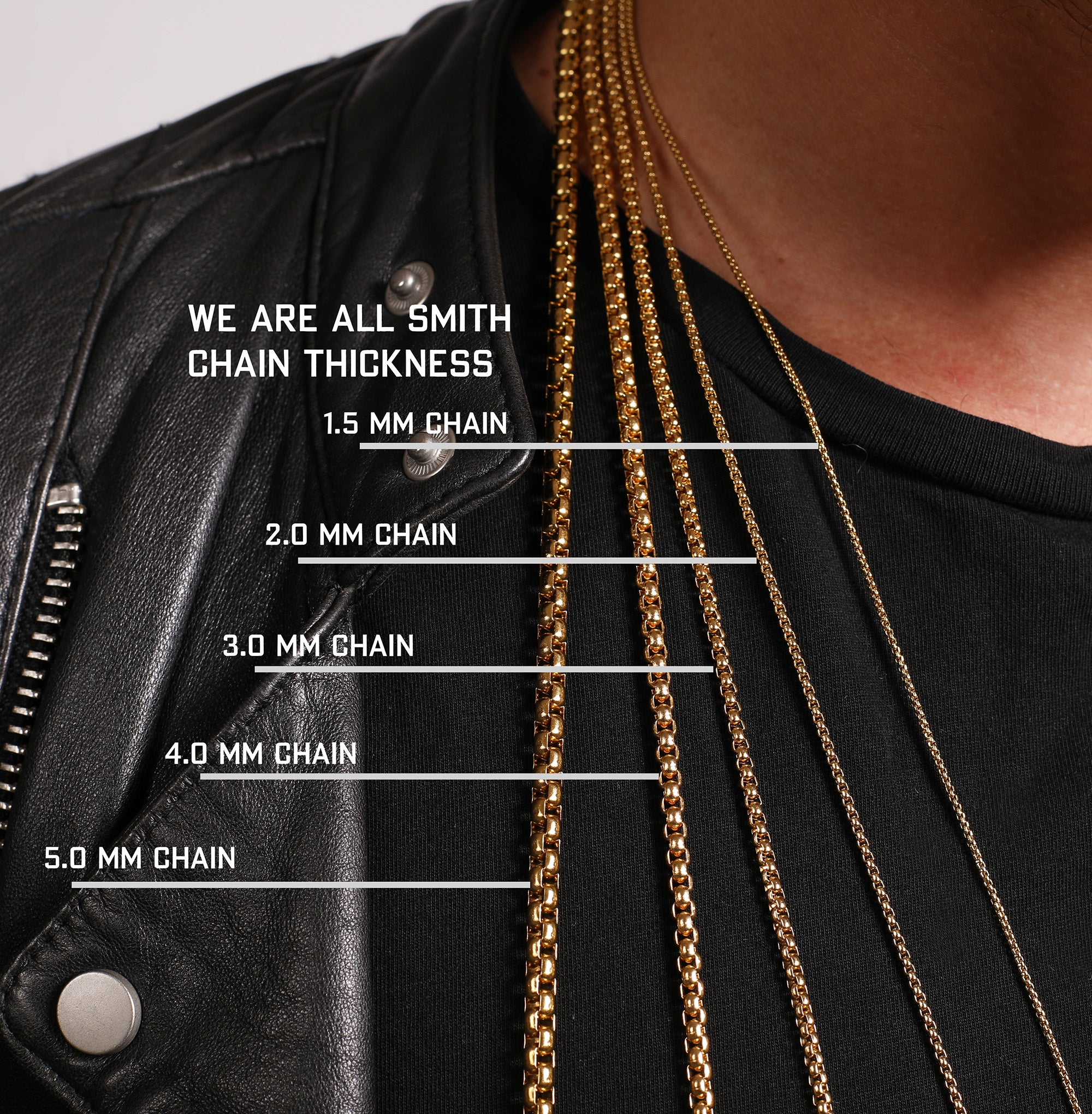 Necklace chain thickness chart