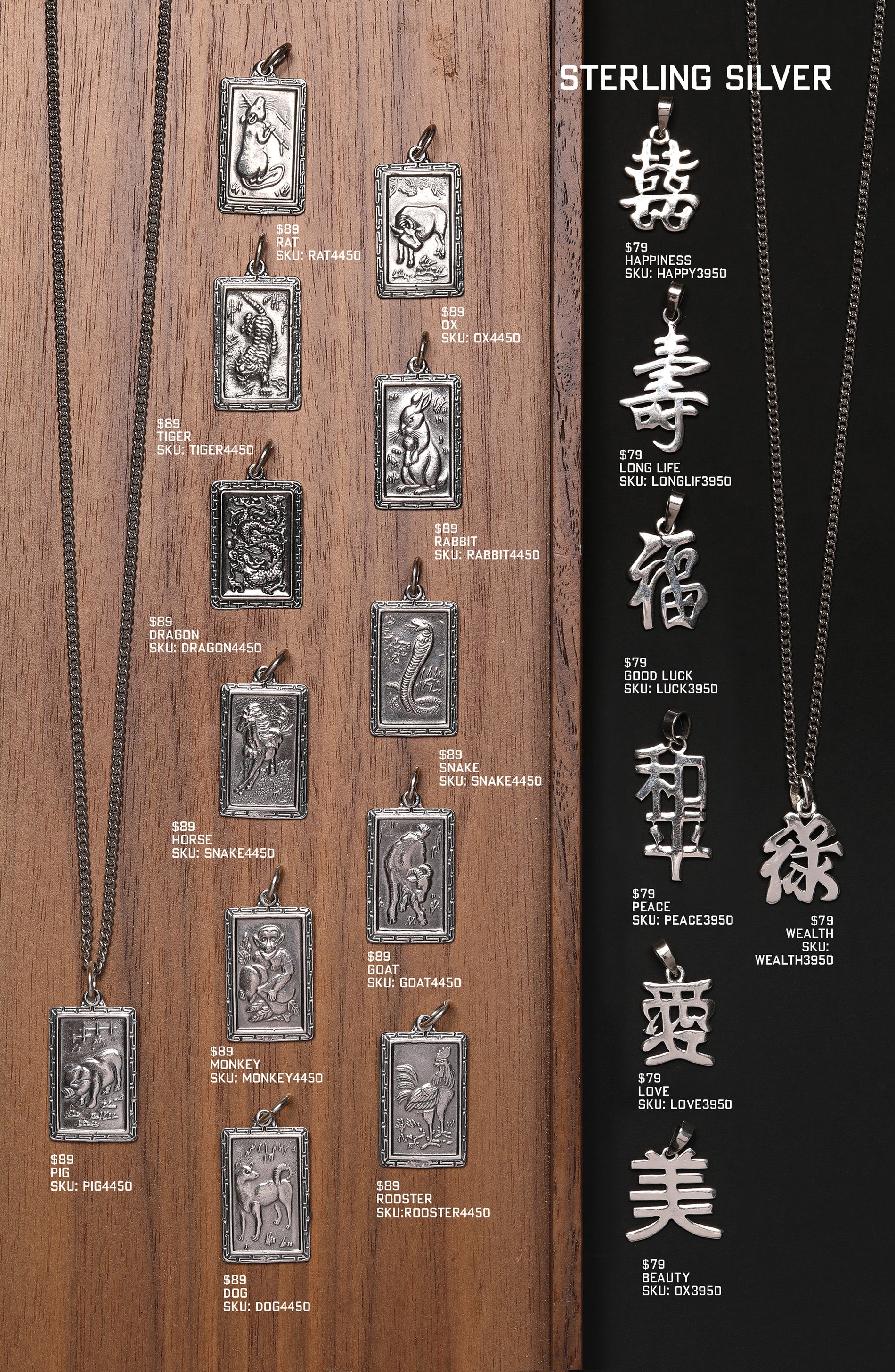 Men's Chinese Zodiac Pendants