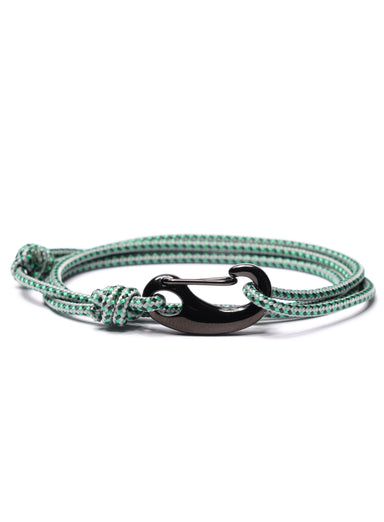 Green + Gray Tactical Cord Bracelet for Men (Black Clasp - 29K)