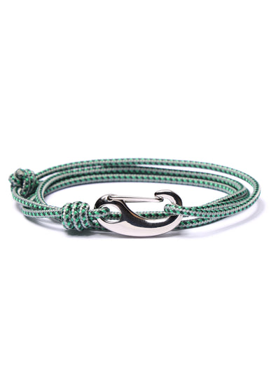 Green + Gray Tactical Cord Bracelet for Men (Silver Clasp)