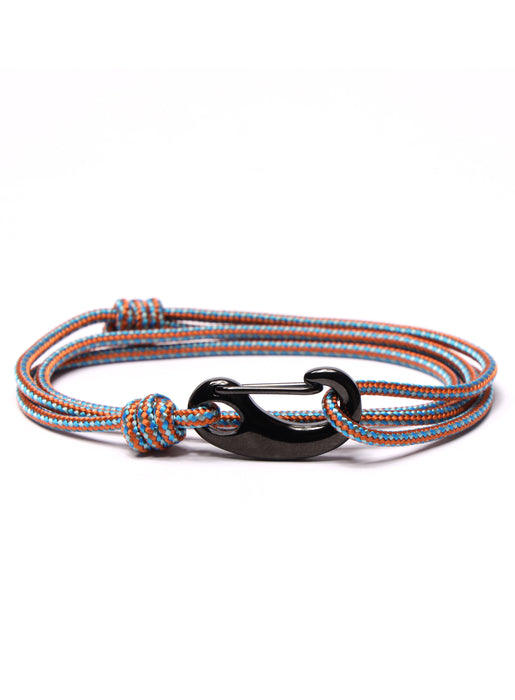 Orange + Blue Tactical Cord Bracelet for Men (Black Clasp - 30K)