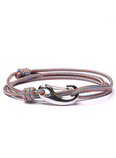 Orange + Blue Tactical Cord Bracelet for Men (Silver Clasp - 30S)