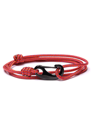 Red + Orange Tactical Cord Bracelet for Men (Black Clasp - 26K)