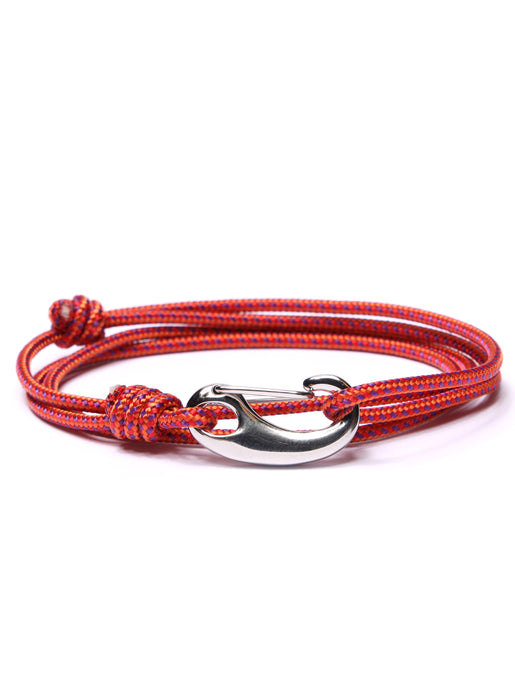 Red + Orange Tactical Cord Bracelet for Men (Silver Clasp - 26S)