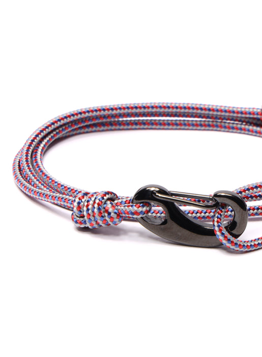 Gray + Red Tactical Cord Bracelet for Men (Black Clasp - 27K)