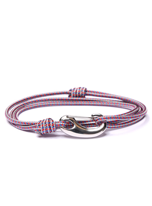 Gray + Red Tactical Cord Bracelet for Men (Silver Clasp - 27S)