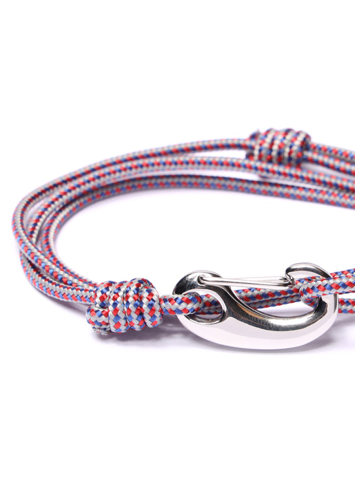 Gray + Red Tactical Cord Bracelet for Men (Silver Clasp)