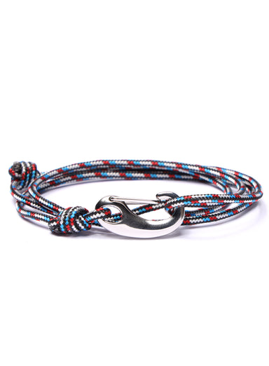 Black, Red and Blue Tactical Cord Bracelet for Men (Silver Clasp)
