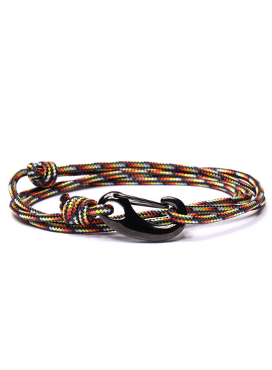 Black, Red and Orange Tactical Cord Bracelet for Men (Black Clasp)