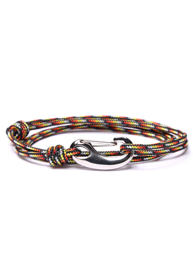 Black, Red and Orange Tactical Cord Bracelet for Men (Silver Clasp)