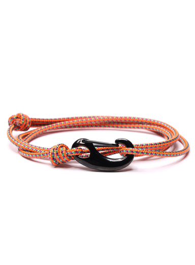 Orange Tactical Cord Bracelet for Men (Black Clasp)